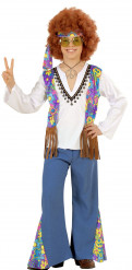Hippie Kinderkostüm 60er 70er weiss-bunt