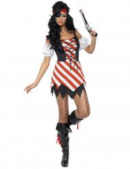 Piratin Damenkostüm weiss-schwarz-rot