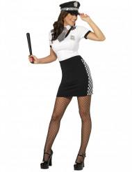 Sexy Polizistin Damen-Kostüm schwarz-weiß