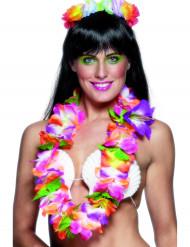 Hawaii Blumenkette Kostümzubehör lila-orange-grün