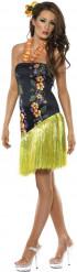 Hawaii Hula Mädchen Damenkostüm schwarz-bunt