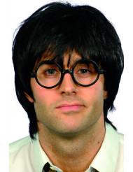 Kurzhaar-Perücke Streber mit Brille schwarz