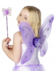 Schmetterlingsflügel mit Zauberstab Accessoire-Set für Kinder lila