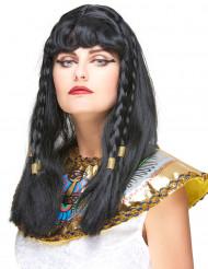 Cleopatra Perücke mit Zöpfen schwarz-gold