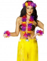 Hawaii Hula Kostümzubehör-Set 3-teilig lila-gelb-rot