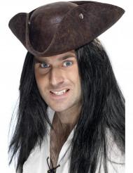 Piraten-Hut Dreispitz in Lederoptik braun