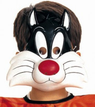 Sylvester-Maske Kinder schwarz-weiß