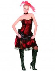 Saloon Showgirl Damenkostüm Wildwest rot-schwarz