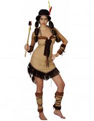 Sexy Indianerin Damenkostüm braun-beige