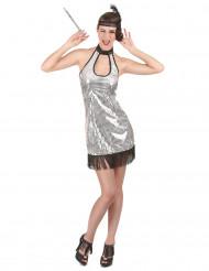 20er-Jahre Damenkostüm Pailletten silber-schwarz