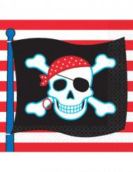 Piraten Party Servietten 16 Stück schwarz-rot-weiss 16,5x16,5cm