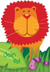Dschungel Einladungskarten 8 Stück bunt