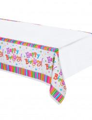 Happy Birthday Tischdecke Streifen bunt 260x140cm
