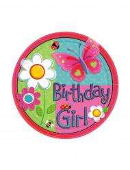 Mädchen Geburtstag Pappteller klein 8 Stück pink-bunt 17,7cm