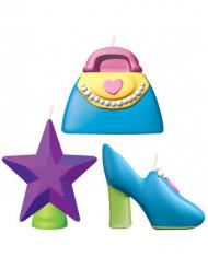 Prinzessin Kerzen-Set Party-Zubehör 6-teilig bunt 3,2cm