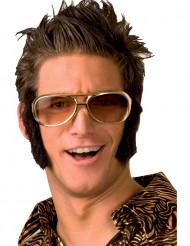 Rock 'n' Roll Brille mit Koteletten Kostüm-Zubehör schwarz-gold