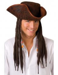 Piraten-Kapitän-Hut mit Dreadlocks braun