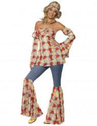 60er 70er Hippie Schlagjeans Damenkostüm blau-orange-gelb
