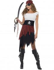 Piratin Damenkostüm Seeräuberin weiss-rot-schwarz