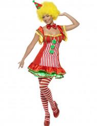 Clown Damenkostüm rot-grün-weiss