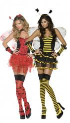 Biene und Marienkäfer - sexy Paar-Kostüm für Damen - gelb-schwarz und rot-schwarz
