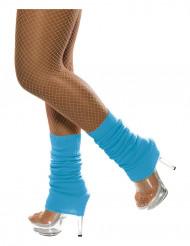 80er Jahre Stulpen Beinstulpen neon-blau