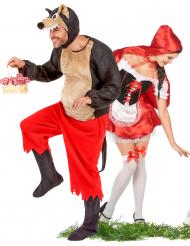 Erwachsenen-Paar-Verkleidung Rotkäppchen und der böse Wolf - rot/weiß/braun