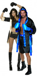 Boxer - Paarkostüm für Erwachsene, schwarz-gold und schwarz-blau