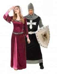 Burgfräulein und Kreuzritter - mittelalterliches Paarkostüm für Erwachsene, bordeauxrot und schwarz