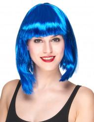 Faschings-Perücke Bob glatt blau