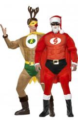 Super-Rentier und Super-Weihnachtsmann Kostüm für Herren - hellbraun/rot