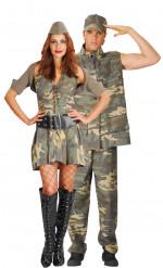 Soldaten-Paar - Kostüm in Camouflage für zwei Erwachsene