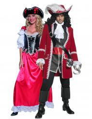 Deluxe Piraten-Paarkostüm für Erwachsene, rot-schwarz