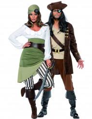 Piraten-Paarkostüm für Erwachsene, braun-beige und grün-weiß
