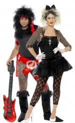Rocker-Paar aus den 80ern - Kostüm für zwei Erwachsene, schwarz