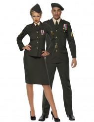 Elegantes Offiziers-Paarkostüm für Erwachsene in Navy-Grün