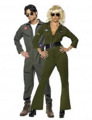 Top Gun Piloten-Kostüm für ein Paar, in Grün und Grau