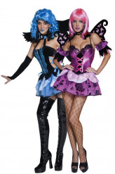 Elfe und Engel der Nacht - verführerisches Paarkostüm für Damen, violett und blau