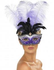 Venezianische Maske mit Federn lila