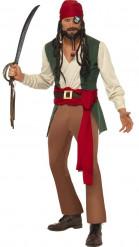 Karibik Pirat Kostüm grün-rot-braun