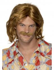 70er Disco Perücke mit Schnurrbart braun