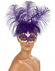 Venezianische Augenmaske Showgirl CanCan Federn lila-weiss-gold