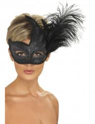 Venezianische Augenmaske Glitzer Federn schwarz