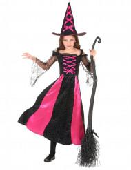 Elegante Hexe Kinderkostüm schwarz-pink