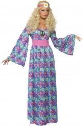60er 70er Hippie Damenkostüm Maxikleid blau-pink-grün