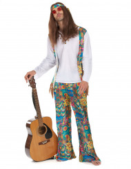 60er 70er Hippie Kostüm blau-pink-gelb