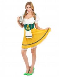 Fesche Bayerin Damen-Kostüm grün-gelb