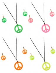 Hippie Accessoire-Set mit Halskette und Ohrringen 3-teilig pink-schwarz