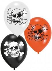 Luftballons Piratenschädel Piratenparty-Deko 6 Stück schwarz-rot-weiss