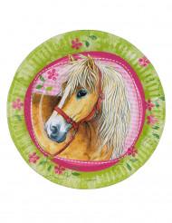Pappteller Pferde Kindergeburtstag 8 Stück hellgrün-rosa 23cm
